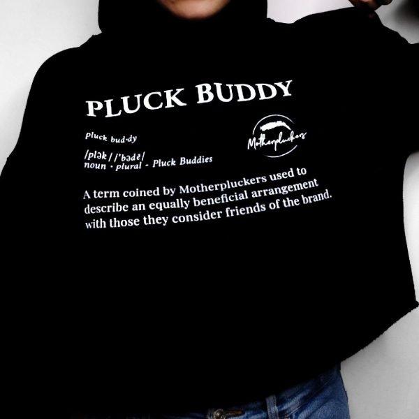 motherpluckers merchandise pluck buddy cropped hoodie sweater